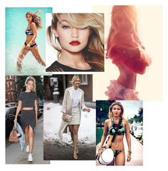 """""""Gigi Hadid Collage"""" by juliapikunas on Polyvore featuring Seafolly and Maybelline"""