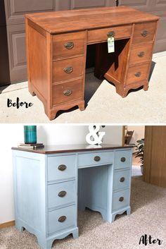 Dusky Blue Desk Makeover | Timeless Creations, LLC