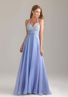 A-line Halter Bärlbroderi Floor-length Chiffong Prom Dresses
