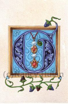 Medieval Illuminated Letter G, Alphabet Letter G, Painted Initial G, Medieval Alphabet, Renaissance Letter, Renaissance Alphabet