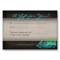 Spa, Massage, Beauty Gift Certificate | Business cards and Card ...