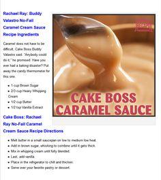 Cake Boss Buddy's No Fail Caramel Cream Sauce Recipe Cream Sauce Recipes, Frosting Recipes, Cake Boss Buddy, Carmel Cake, Cake Boss Recipes, Butterfly Cakes, Flower Cakes, Dessert Sauces, Dessert Recipes