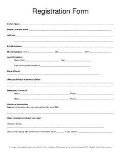 Registration form VBS