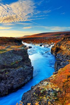 Hraunfossar canyon, Iceland