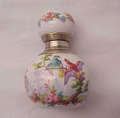 Sweet French Bird Motif Hand Painted Porcelain and Silver Scent Bottle Circa 1880
