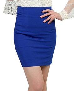 4ee9a128a2 Winwinus Womens Stretchy Fabric Mid For Office Wear Short Skirt S Blue **  ** AMAZON BEST BUY ** #SummerOutfit