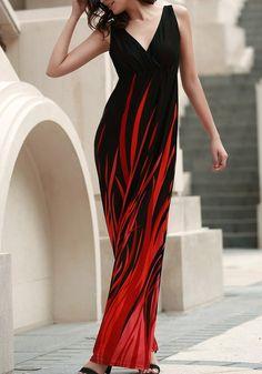Black Floral Condole Belt Draped Plunging Neckline Maxi Dress