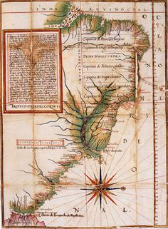 Map of Brazil, by Luiz Teixeira, ca. 1586. Note the Portuguese captaincies, or land grants to loyal nobles, along the Brazilian coast. Of the first 15 charters, five were not colonized, 8 were of limited success due to Indian attacks, and only two of these — São Vicente and Pernambuco — were successful right away. Map reproduced by David Woodward (editor), The History of Cartography, Volume 3: Cartography in the European Renaissance, 2007.