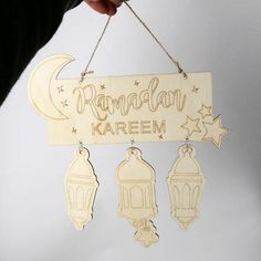 10pcs Wooden Hollow Pendants Muslim Eid Mubarak Ramadan Decor Nice Ornaments Set