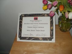 Agatha Award nomination certificate for Well Read, Then Dead by Terrie Farley Moran