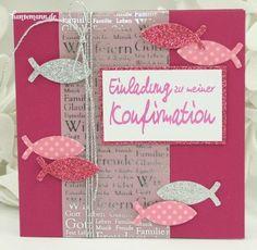 Idee - Einladungskarte zur Konfirmation / Kommunion pink-silber