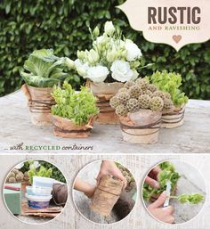 grouping of Rustic & Natural Centerpieces. Wrapping the vases with burlap and tying the up with darker brown leather strips is a great idea!
