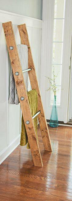 Wooden Ladder, Blanket Ladder, Bathroom Storage, Industrial Furniture, Quilt Rack, Reclaim Wood, Pipe Rack, Rustic Industrial Decor, Modern #affiliatelink