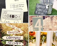 Sparklers, Book table numbers and retro cassette invites... Love