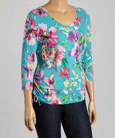 Loving this Turquoise & Pink Autumn Rose Three-Quarter Sleeve Top - Plus on #zulily! #zulilyfinds
