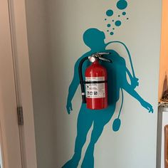 Girl Scuba Diver wall decal which can be combined with a fire extinguisher - Wall Sticker for Office Wall Decoration - Creative wall sticker Office Wall Decals, Wall Sticker, Banksy, Gifts For Office, Fire Extinguisher, Textured Walls, All The Colors, Silhouette, Wall Decor