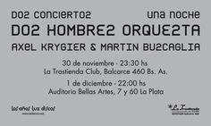 Postal para recital, dorso. Axel Krygier y Martín Buscaglia. Diseño y realización Carlos Carpintero, para ZkySky.
