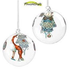 iittala ornaments Glass Christmas Ornaments, Christmas Bulbs, Christmas Decorations, Holiday Decor, White Christmas, Christmas Holidays, Nordic Design, Scandinavian, Hand Painted