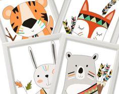 Tribal Nursery Art Prints Tribal Animals Nursery Prints