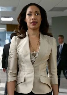 Jessica's champagne blazer on Suits.  Outfit Details: http://wornontv.net/19205/