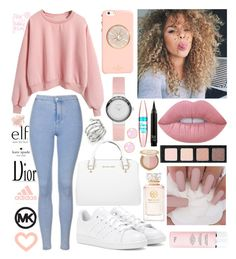 """Pinks"" by inspiredfashionn ❤ liked on Polyvore featuring Topshop, Kate Spade, adidas, Lime Crime, Maybelline, Too Faced Cosmetics, Tory Burch, MICHAEL Michael Kors, Skagen and Michael Kors"