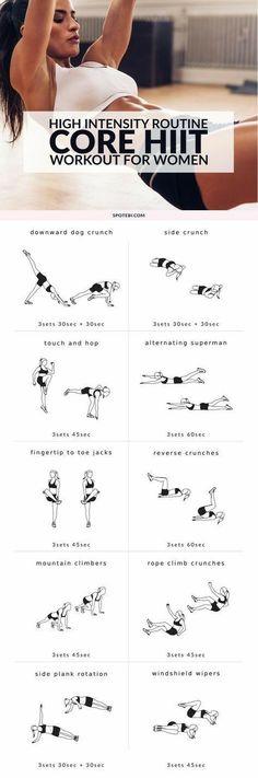 Core hiit workout - gym tabla. Más en: https://es.pinterest.com/patyjuberias/workout-gym-women/