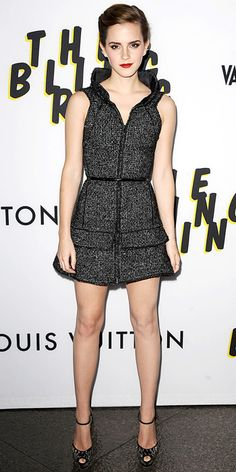 Emma Watson at the L.A. premiere of The Bling Ring in a sculpted Chanel minidress that she styled with edgy Graziela ear cuffs and ankle-strap peep-toes.