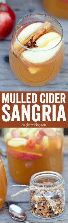 Delicious Mulled Apple Cider Sangria recipe made with Spices and wine!
