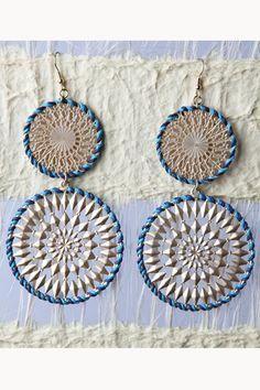 large blue crochet earrings