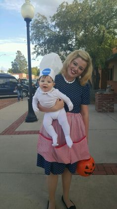 50s houswife and the pillsburry doughboy mother and son halloween costumes