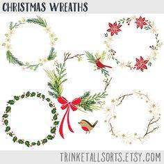 Christmas Wreaths Clip Art Wreath By TrinketAllsorts