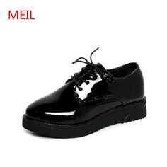 1a41edb6618 Pas cher Chaussures femme 2018 de Haute Qualité Femmes richelieus Appartements  Plate Forme chaussures En Cuir