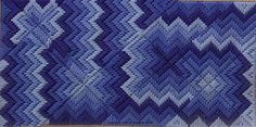 Blue Mad Miters needlepoint bargello by liz morrow