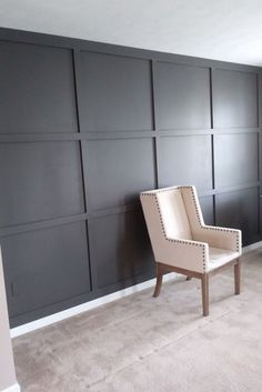 Living room makeover: accent wall Living room wall reveal with diy board and batten in dark gray almost a warm black paint color. urbane bronze + idea + board + batten + home + project + grid + accent Black Accent Walls, Accent Walls In Living Room, Accent Wall Bedroom, Living Room Paint, My Living Room, Living Room Decor, Living Room Wall Ideas, Cozy Living, New Paint Colors