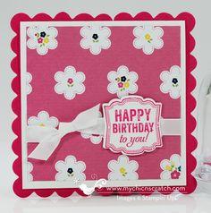 Sneak Peek @ new SU catalog!  Label Love stamp set with Gingham Garden DSP