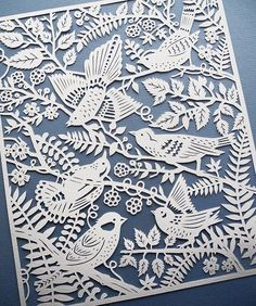 Wild Birds handcut paper illustration by Sarah Trumbauer. Giclee prints available on Etsy not origami but still paper