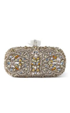Lily Embroidered Clutch in Silver Multi by Marchesa Now Available on Moda Operandi
