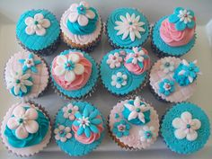 Elizabeth shower- Pink and Turquoise fondant cupcake toppers Turquoise Cupcakes, Teal Cupcakes, Floral Cupcakes, Baby Shower Cupcakes, Pink Turquoise, Buttercream Decorating, Cookie Decorating, Fondant Cupcake Toppers, Cupcake Cakes