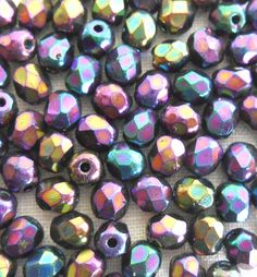 Fifty 4mm Czech Purple Iris glass firepolished round faceted beads, C6350