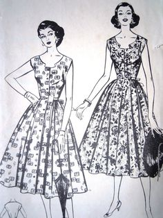 Gorgeous British Style vintage 1950s sewing pattern A super sweet shaped neckline with a softly gathered skirt, button down front and ties to the rear Bust 36 inches