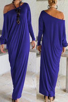 Blue Elegant stunning long sleeve Jersey Maxi Dress