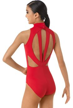 Mock Neck Back Cutout Leotard