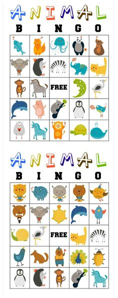 Free Printable Animal Bingo Cards for Toddlers and Preschoolers - Kinderspiele Free Printable Bingo Cards, Printable Animals, Free Printables, Toddler Preschool, Toddler Crafts, Toddler Activities, Animal Games For Toddlers, Cognitive Activities, Alphabet Activities
