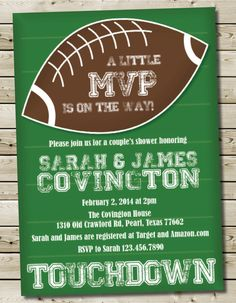 Marvelous Custom Printable Football Theme Baby Boy By PurplelephantDesigns, $12.00 ·  Diaper Party InvitationsCouples Shower ...