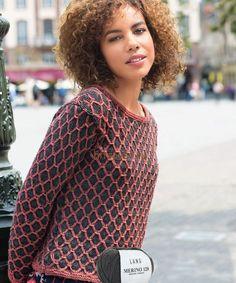 Пуловер с решетчатым узором, фото.