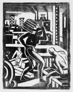 James Lesesne Wells. 1902–1993 Рабочие. 1929 линогравюра 35.6 x 27.3 см  немного Америки времен начала великой депрессии #linocut #americanart