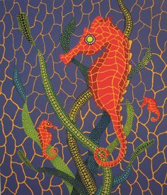 "Yayoi Kusama ""Seahorses"" 1989. Screenprint.  Japanese artist Kusama is one of the most influential artists of the 1960's.  At age ten, she started to paint using her signature polka dots and nets as motifs that would become her trademark.  She left Japan in 1957 for New York, and during her time in the United States she established her reputation as a leader in the avant-garde movement."