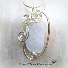 White Crystal Quartz Geode Wire Wrapped Pendant Necklace by CareMoreCreations.com, $29.00
