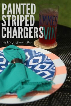 Striped Painted Chargers for Summer