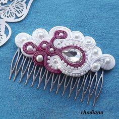 White & Fuchsia Soutache comb,  Wedding Hair Accessory, Soutache , Wedding Hair
